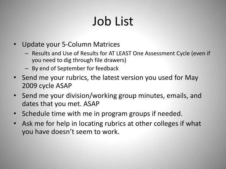 Job List