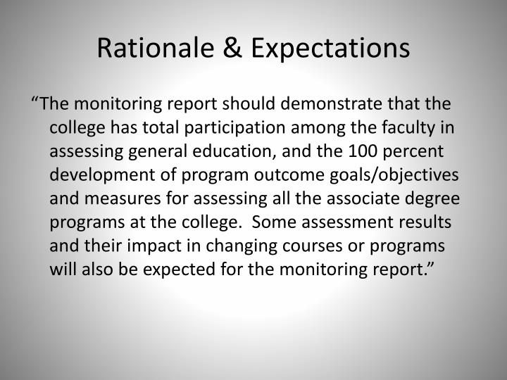 Rationale & Expectations