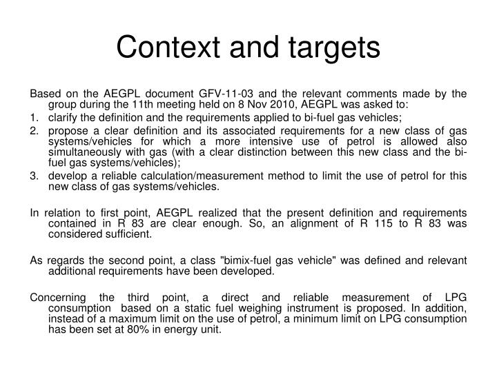 Context and targets