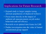 implications for future research