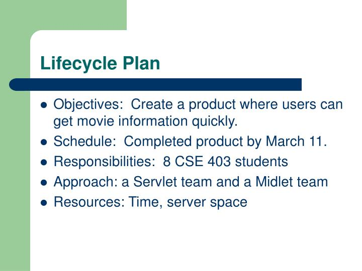 Lifecycle Plan