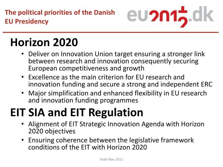 The political priorities of the Danish EU Presidency