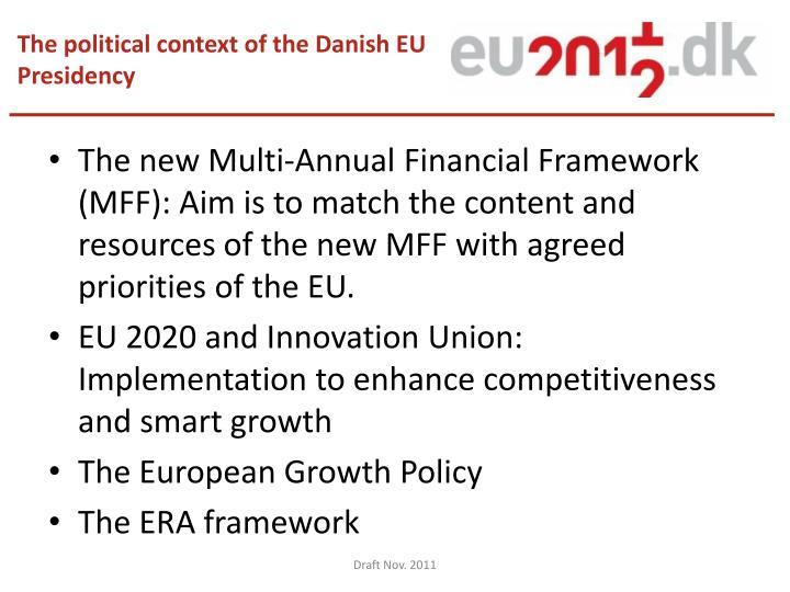 The political context of the Danish EU Presidency