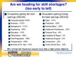 are we heading for skill shortages too early to tell