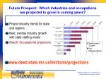 future prospect which industries and occupations are projected to grow in coming years