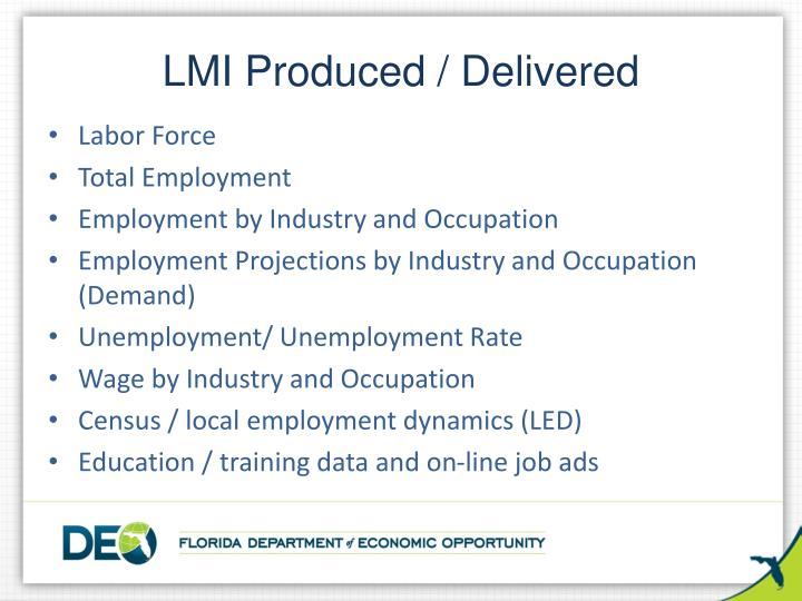 LMI Produced / Delivered