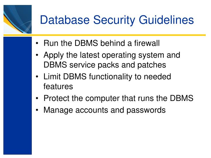 Database Security Guidelines