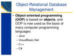 object relational database management