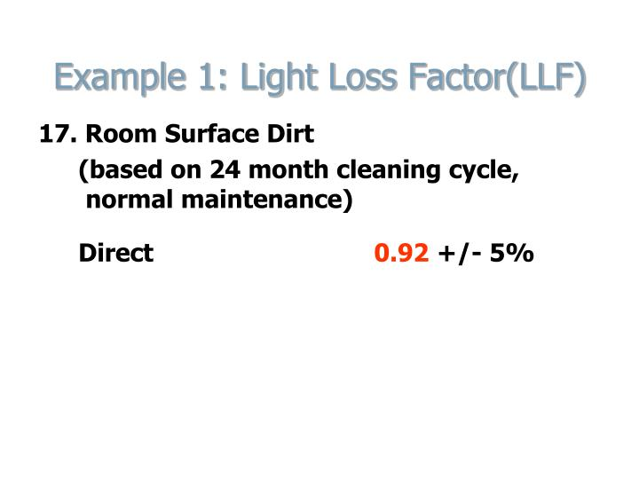 Example 1: Light Loss Factor(LLF)