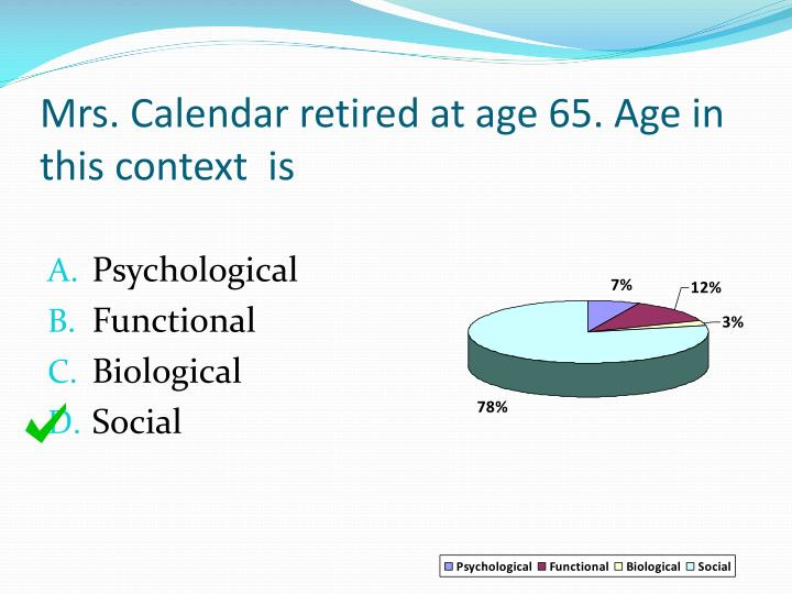 Mrs. Calendar retired at age 65. Age in this context  is