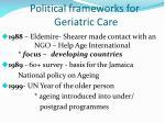 political frameworks for geriatric care1