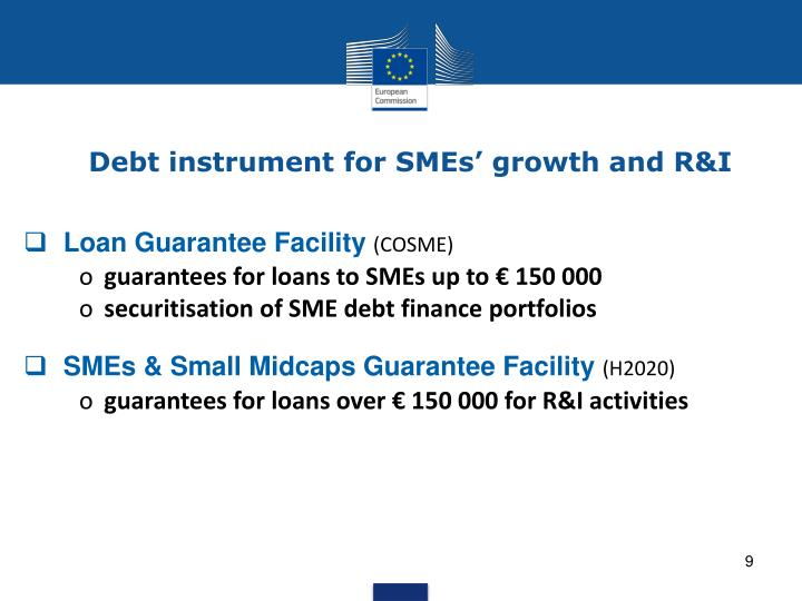 Debt instrument for SMEs' growth and R&I