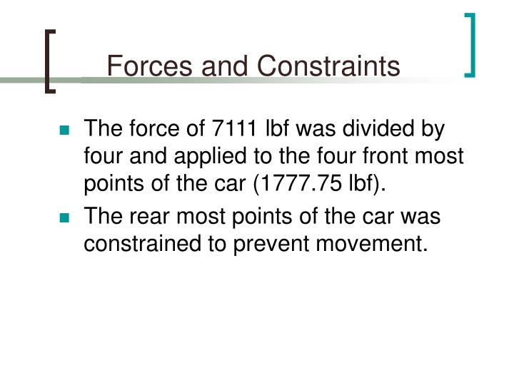 Forces and Constraints