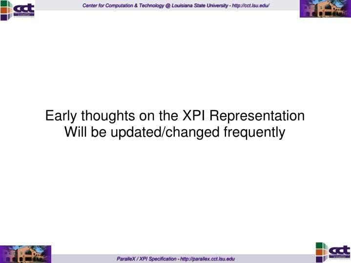 Early thoughts on the XPI Representation