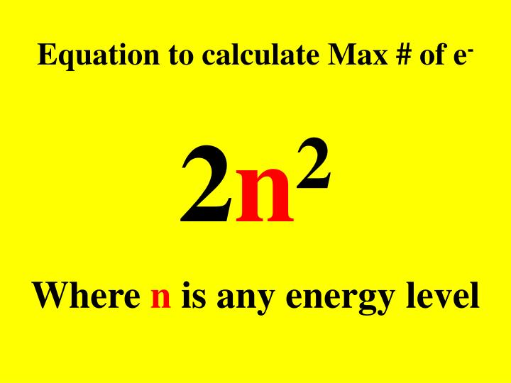 Equation to calculate max of e
