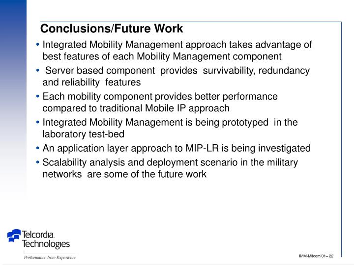 Conclusions/Future Work