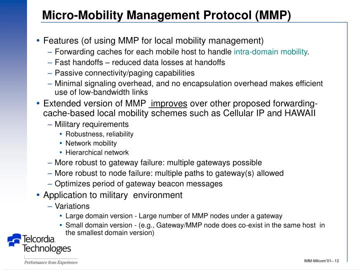 Micro-Mobility Management Protocol (MMP)