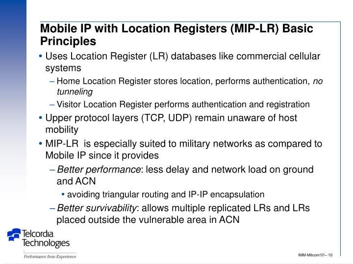 Mobile IP with Location Registers (MIP-LR) Basic Principles