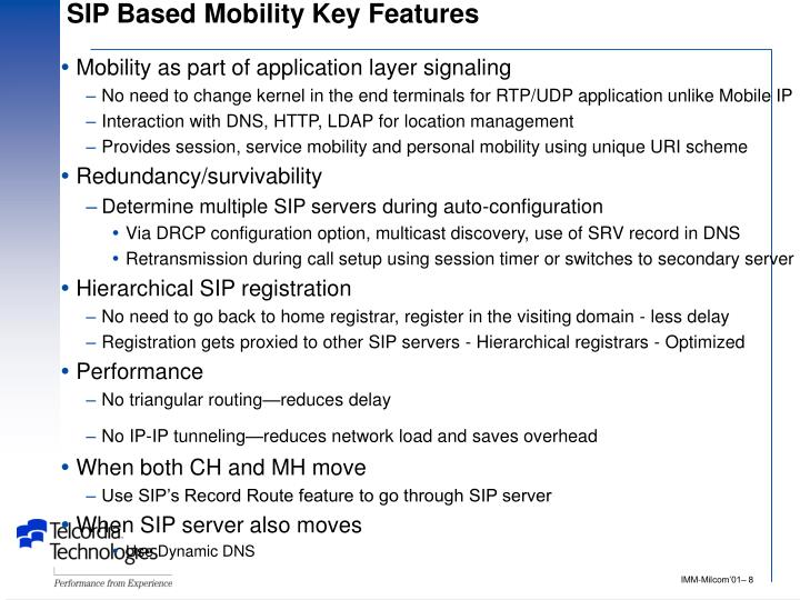 SIP Based Mobility Key Features