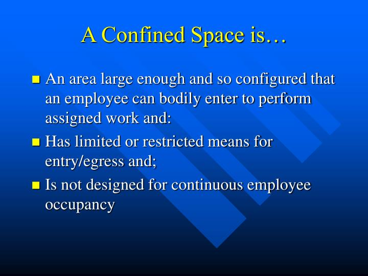 A Confined Space is…