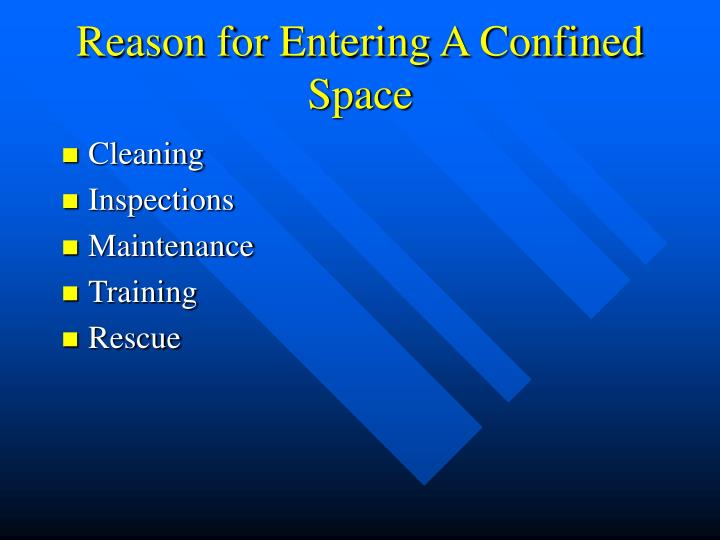 Reason for Entering A Confined Space