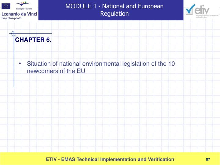 Situation of national environmental legislation of the 10 newcomers of the EU