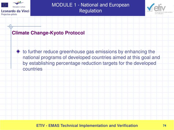 to further reduce greenhouse gas emissions by enhancing the national programs of developed countries aimed at this goal and by establishing percentage reduction targets for the developed countries