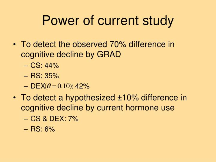 Power of current study