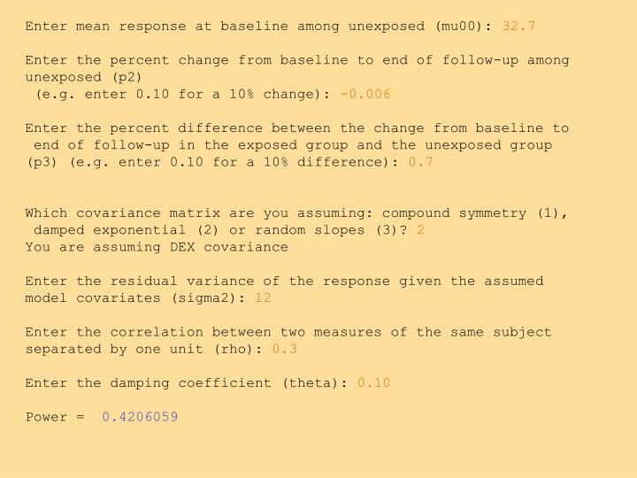 Enter mean response at baseline among unexposed (mu00):