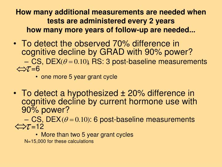 How many additional measurements are needed when tests are administered every 2 years
