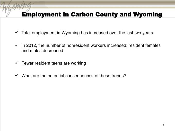 Employment in Carbon County and Wyoming