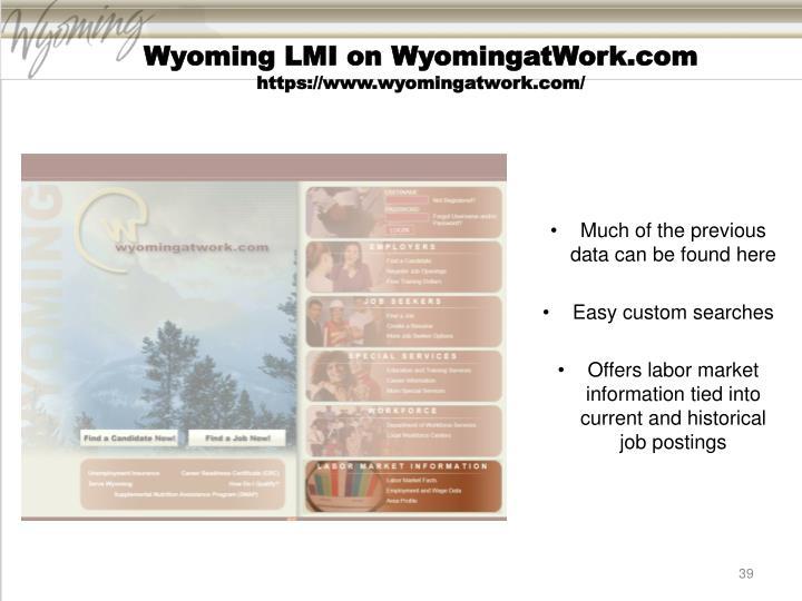 Wyoming LMI on WyomingatWork.com