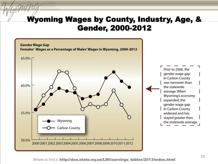 Wyoming Wages by County, Industry, Age, & Gender, 2000-2012
