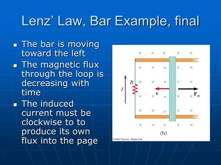 Lenz' Law, Bar Example, final