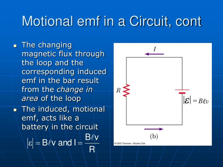 Motional emf in a Circuit, cont