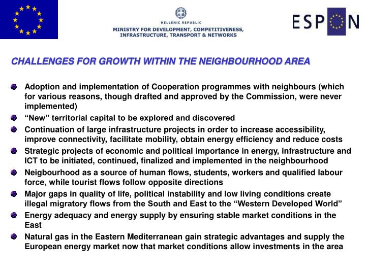 CHALLENGES FOR GROWTH WITHIN THE NEIGHBOURHOOD AREA