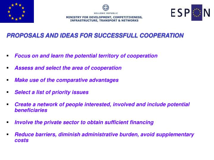 PROPOSALS AND IDEAS FOR SUCCESSFULL COOPERATION