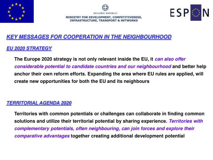 KEY MESSAGES FOR COOPERATION IN THE NEIGHBOURHOOD