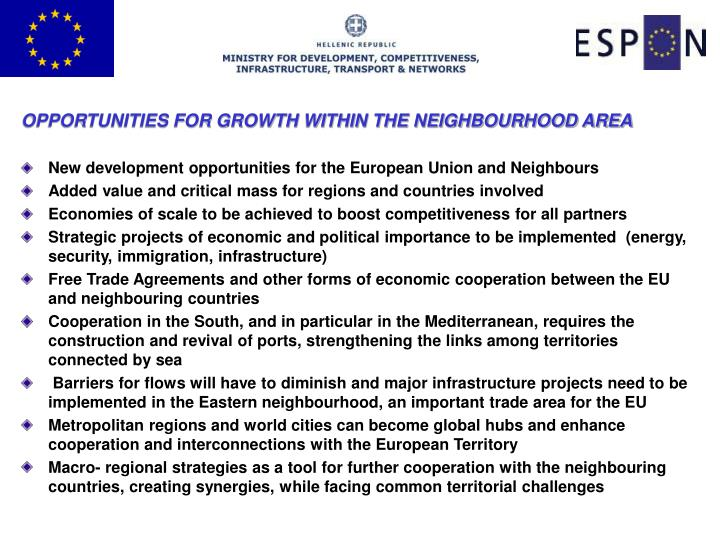 OPPORTUNITIES FOR GROWTH WITHIN THE NEIGHBOURHOOD AREA