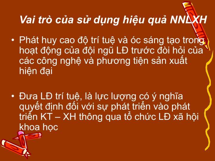 Vai trò của sử dụng hiệu quả NNLXH