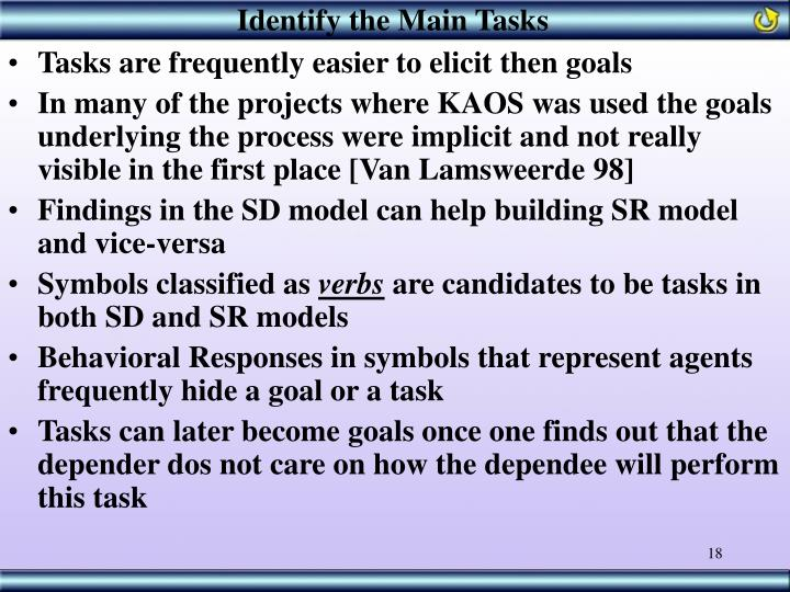 Identify the Main Tasks