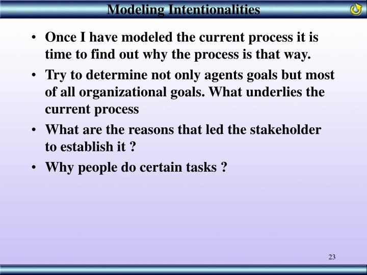 Modeling Intentionalities