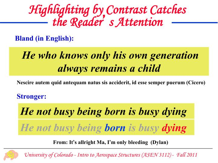 Highlighting by Contrast Catches