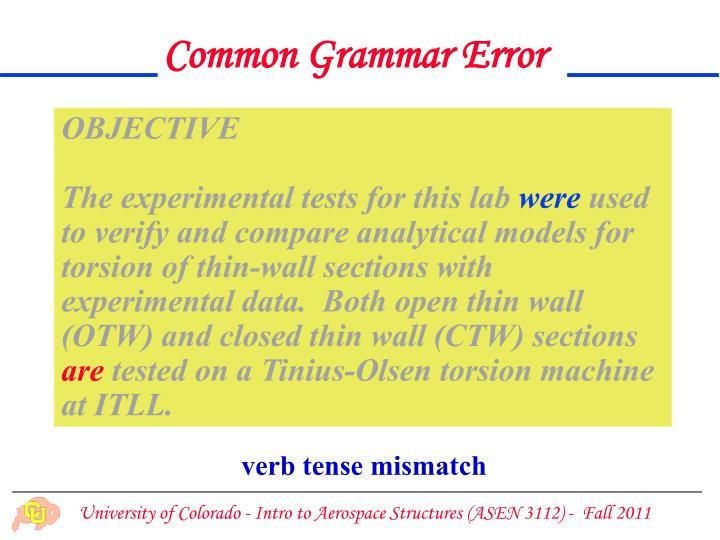 Common Grammar Error
