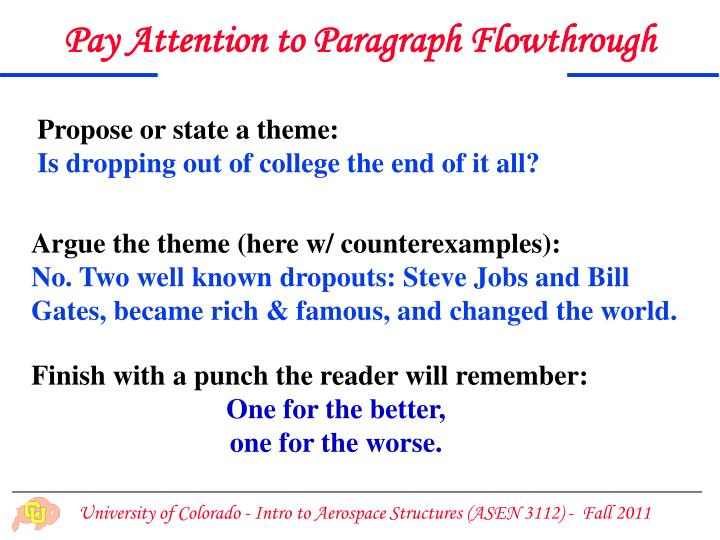 Pay Attention to Paragraph Flowthrough