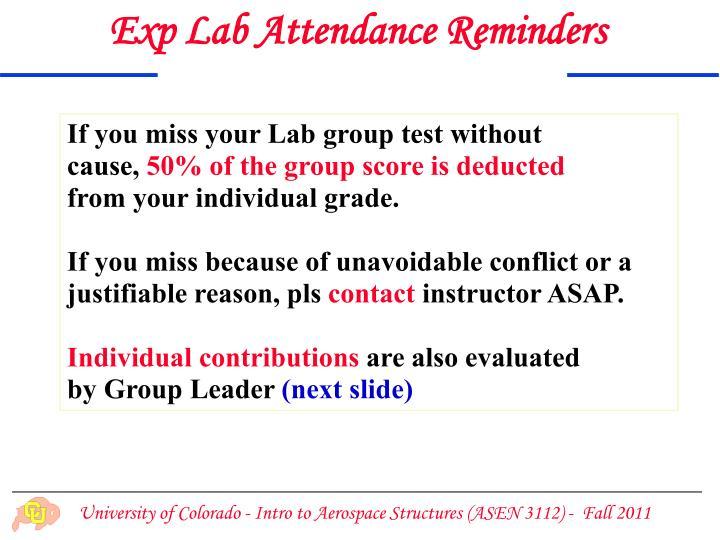 Exp Lab Attendance Reminders