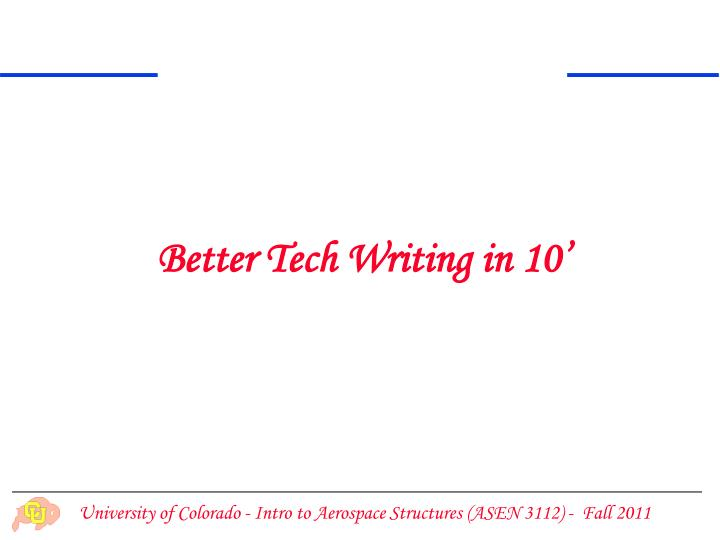 Better Tech Writing in 10'