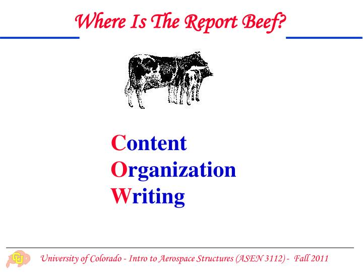 Where Is The Report Beef?