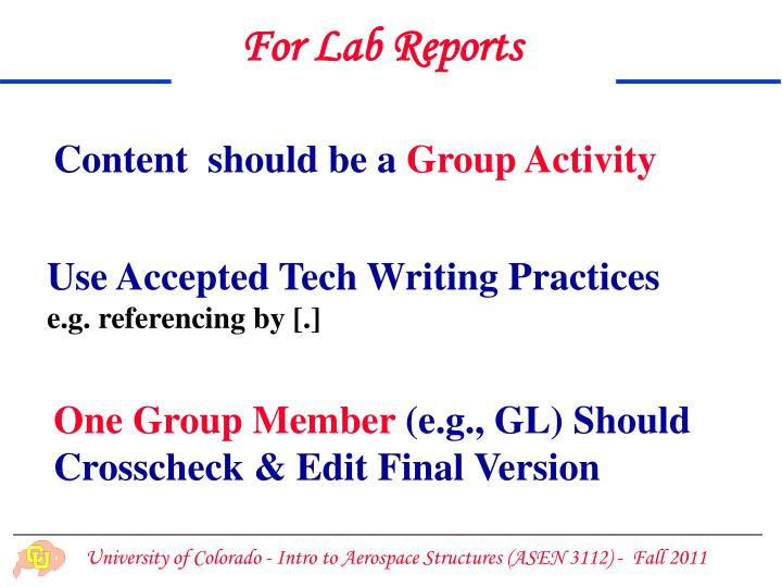 For Lab Reports