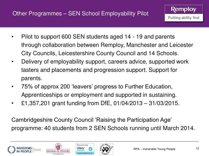 Other Programmes – SEN School Employability Pilot